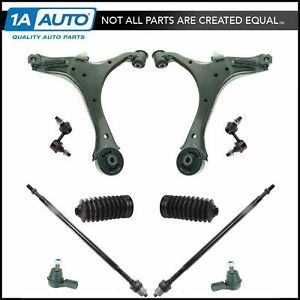 12 Piece Steering Suspension Kit Control Arms Tie Rods Sway Bar End Links New