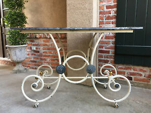 Antique French Pastry Baker S Table Scrolled Iron W Marble Top Kitchen Island