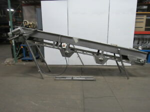 180 x23 Incline Cleated Stainless Steel Small Parts Conveyor 115 Discharge