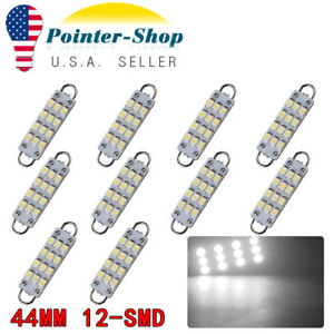 10x 44mm 3528 Smd Festoon Led White Rigid Loop Dome Door Map Light Bulbs Lamps