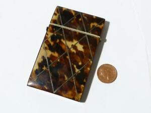 19thc Victorian Edwardian Calling Card Case Inlaid Diamond Shape Blank Cartouche