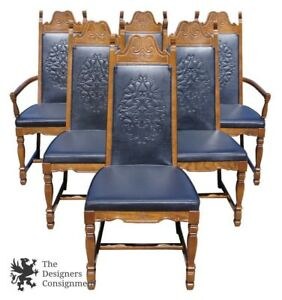 6 United Furniture Spanish Revival Oak Dining Chairs Old World Embossed Vinyl