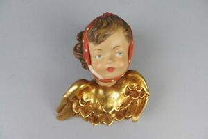 Awseome Vintage Carved Wood Wall Hanging Heat Angel With A Toothache