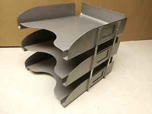 In out Trays 3 Stack Grey Machine Age Industrial Metal Art Steel Vintage