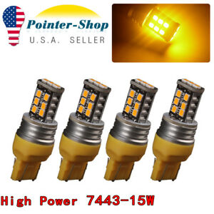 4x 7443 T20 15w Amber Yellow 4300k High Power Interiortail Brake Led Light Bulbs
