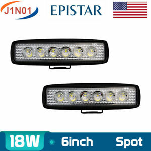 2x 6inch 18w Led Work Light Flush Mount Flood Reverse Truck Trailer Atv 4 Spot