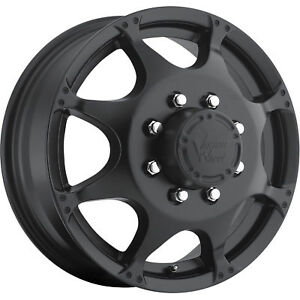 17x6 5 Black Vision Crazy Eightz Dually Front Wheels 8x170 143 Ford