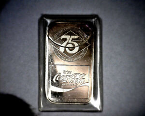 Rare 1977 Coca Cola Philadelphia Limited Mint Silver 1 oz. Bar Mint .999 Fine