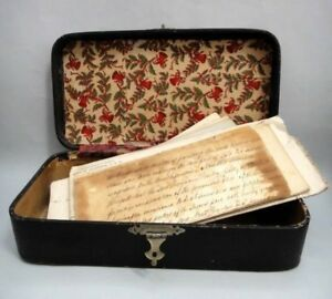 1800 Antique Victorian Document Box W Christmas Lining Fabric Paper Ornate Hinge