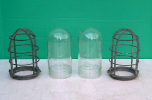 Pair Vtg Industrial Explosion Proof Crouse Hinds V 75 Cage Light Globes