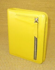 Compact 1 Rings Yellow mustard Leather Franklin Covey Open Planner binder