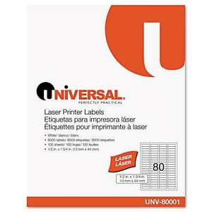 Universal White Laser Printer Permanent Labels 2 Packs Of 8000