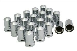 33mm Chrome Lug Nut Covers Push On Plastic Tall Pointed 20 Pack