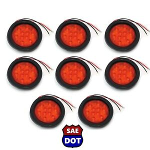 4 Round 8 Red 10 Led Stop Turn Tail Light Flush Mount Truck Trailer