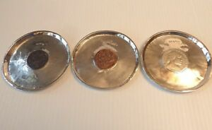 Handworked Silver Saucers W 1 Ethiopian 2 Turkish Coins In The Centers