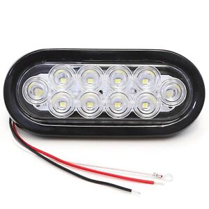 6 Oval Clear White Led Reverse Back Up Light Flush Mount Trailer Truck