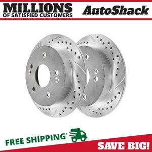 Rear Drilled Slotted Disc Brake Rotors Pair 2 For Acura Integra Rsx Honda Accord