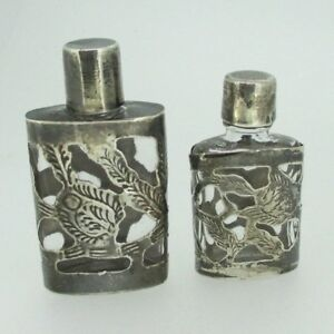 Vintage Art Nouveau Taxco Sterling Silver Mini Perfume Bottle Set