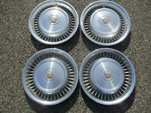 1971 1972 Cadillac Deville Fleetwood Hubcaps Wheel Covers Set Used