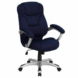 Malaga Executive Navy Blue Microfiber Adjustable Swivel Office Chair With Padded