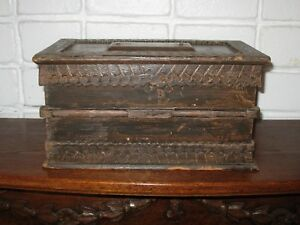 Antique Primitive Wood Document Bible Box Orig Hardware Fresh To The Market
