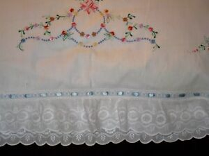 Romantic Embroidered Pillow Sham W Layers Of Luscious Whitework Ruffles 26x28