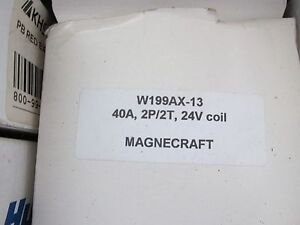 Magnecraft W199ax 13 Power Relay Dpdt 24vac 40a Panel Relay