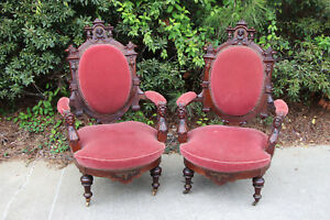 Ornate Pair Of Walnut Victorian John Jeliff Renaissance Revival Arm Chairs