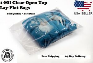 Clear Poly Plastic Bags Open Top Lay Flat 1 Mil Baggies Large Small Shirt Fda