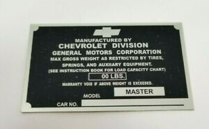 Chevrolet Chevy 1 2 Ton Pickup Truck Identification Plate 1939 1941 Stamped