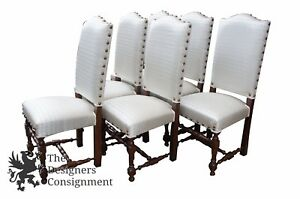 6 Jacobean Spanish Style Dining Chairs Oak Spindle Leg White Fleur De Lis Seat