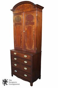 Antique Sheraton Mahogany Inlaid 4 Drawer Chest W Bookcase Step Back Cabinet