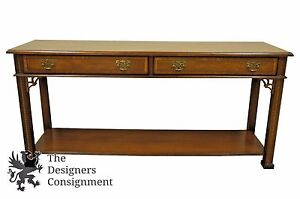 Stanley Stoneleigh Chippendale Style Inlaid Mahogany Sofa Console Side Table 56