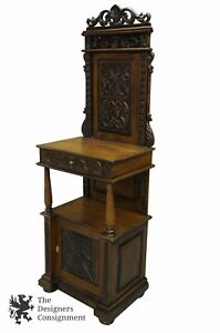 Antiqued Mahogany Alter Cabinet Cupboard Butlers Desk Tree Stand Podium 78 5
