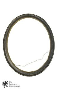 Antique 22 Wooden Oval 16 X 20 Picture Mirror Frame Black Gilded Inner Edge