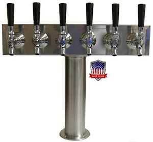 Stainless Steel Draft Beer Tower Made In Usa 6 Faucets Glycol Ready tt6crg