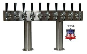 Stainless Steel Beer Tower Made In Usa 10 Faucets Glycol Cooled pt10ssg
