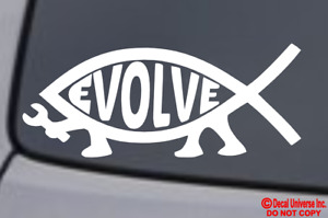 Evolve Fish Vinyl Decal Sticker Car Window Bumper Jesus Parody Atheist Darwin