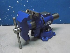 Gibraltar Rotating Bench Vise W Swivel Base 4 Jaw Width 3 15 16 Opening Cap