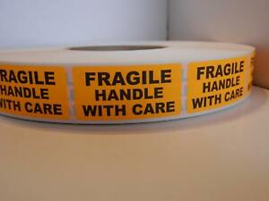 Fragile Handle With Care Warning Stickers Labels Fluorescent Orange 250 rl
