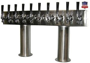 Stainless Steel Draft Beer Tower Made In Usa 10 Faucets Glycol Ready Ptb 10ssg