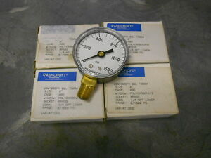 Ashcroft Commercial Pressure Air Gage 1 4 Npt Brass 1500 Psi Model 1005ph
