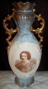 Antique Porcelain Portrait Vase Victoria Carlsbad Cin Mars