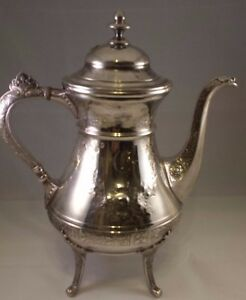 Gorgeous Ornate Victorian Footed Coffee Pot Reed Barton Silverplate 9923
