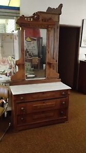 Vintage Eastlake 19th Century Dresser With Mirror Very Nice Marble Top Section