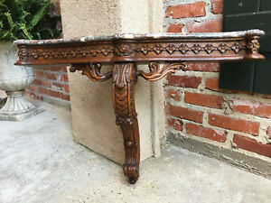 Antique French Carved Oak Corbel Console Table Pediment Marble Shelf Louis Xv B