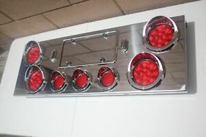 Stainless Steel Rear Center Panel Led Tail Lights Turn Signals License Plate New