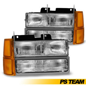 1994 1998 Chevy Silverado Tahoe C1500 C2500 K1500 Chrome Headlights Signal Light
