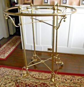 Vintage Round Ornate Brass Clothing Garment Department Store Display Rack 51x41