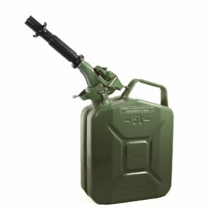 Wavian 3016 1 3 Gallon 5 Liter Steel Gasoline Fuel Jerry Can With Spout Green
